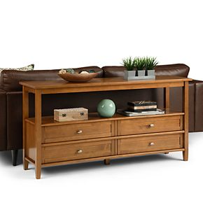 Simpli Home Warm Shaker Rustic Wide Console Sofa Table in Honey Brown