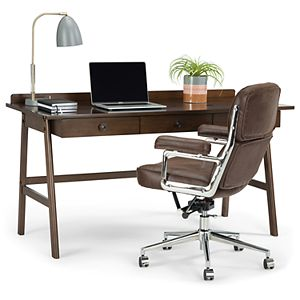 Simpli Home Rylie Solid Wood Contemporary Desk - Natural Aged Brown
