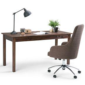 Simpli Home Monroe Solid Acacia Wood Rustic Desk - Distressed Charcoal Brown