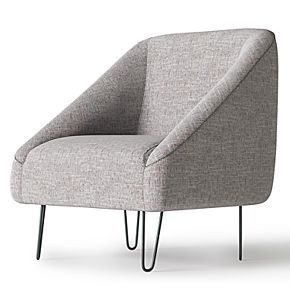 Simpli Home Gretchen Mid Century Modern Accent Chair with Hairpin Legs - Oatmeal Tweed Look Fabric