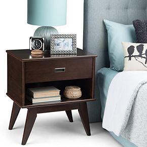 Simpli Home Draper Mid Century Modern Bedside Nightstand Table - Medium Auburn Brown