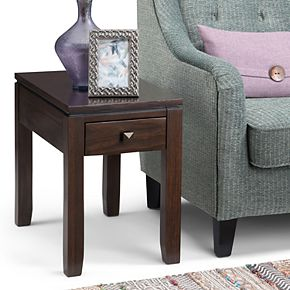 Simpli Home Cosmopolitan Contemporary Narrow Side Table - Coffee Brown