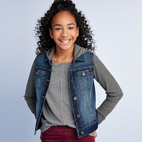 Girls 7-16 Mudd® Waffle Knit Jean Jacket