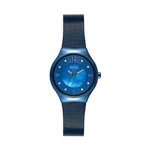 BERING Women's Slim Solar Blue Stainless Steel Mesh Watch - 14427-393