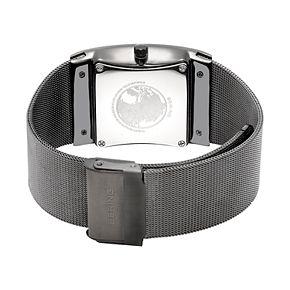 BERING Men's Slim Solar Gunmetal Stainless Steel Tank Mesh Watch - 16433-377