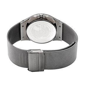 BERING Men's Slim Solar Gunmetal Stainless Steel Mesh Watch - 14640-077