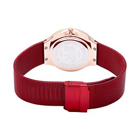 BERING Men's Charity Rose Gold Stainless Steel Red Mesh Watch - 13338-CHARITY