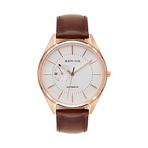 BERING Men's Automatic Leather Watch - 16243-564