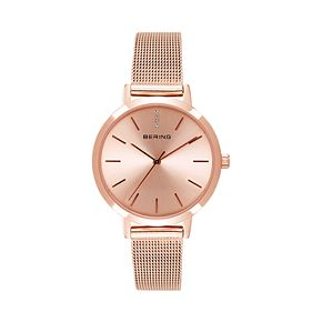 BERING Women's Classic Rose Gold Tone Stainless Steel Mesh Watch - 13434-366