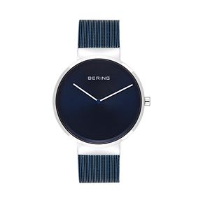 BERING Men's Classic Stainless Steel Blue Mesh Watch - 14539-307