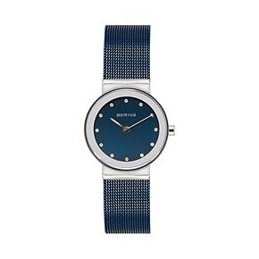 BERING Women's Classic Stainless Steel Blue Mesh Watch - 10126-307