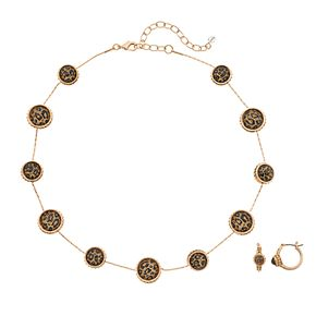 Napier Animal Print Circle Necklace & Drop Earring Set