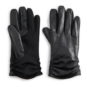 Womens Apt. 9® Leather & Stretch Fabric Tech Glove