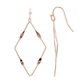 LC Lauren Conrad Hammered Nickel Free Geometric Hoop Earrings