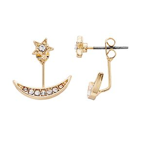 LC Lauren Conrad Star & Moon Nickel Free Ear Jacket Earrings