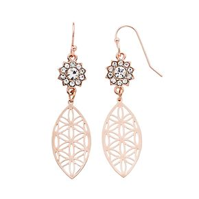 LC Lauren Conrad Flower Nickel Free Marquise Drop Earrings