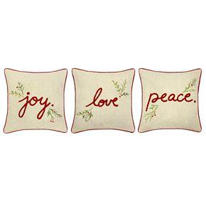 St. Nicholas Square® Linen Love, Peace, Joy Pillow Set
