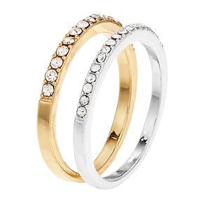 LC Lauren Conrad Two Tone Pave Ring Set