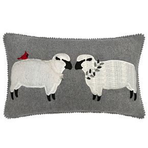 St. Nicholas Square® Grey Two Sheep Pillow