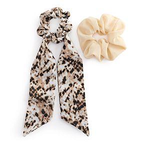 Draped Snakeskin & Solid Hair Scrunchie Set
