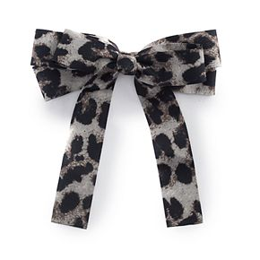 Juniors' Snow Leopard Bow Barrette
