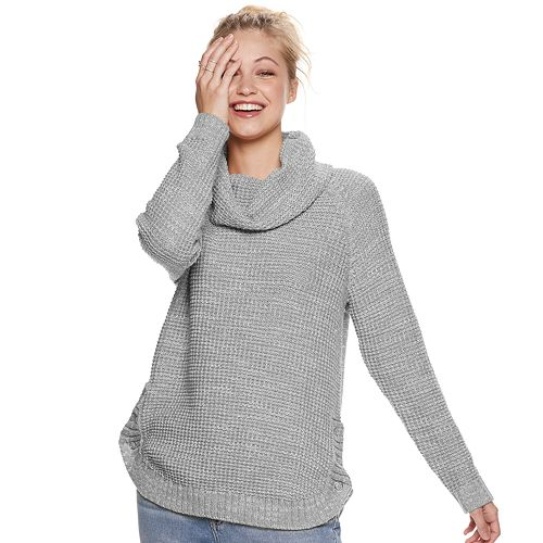 Juniors' It's Our Time Cowl Neck Round Hem Tunic Pullover