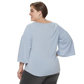 Plus Size EVRI Smocked Scoopneck Top