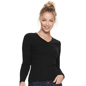 Juniors' It's Our Time Long Sleeve V-Neck Solid Rib Pullover