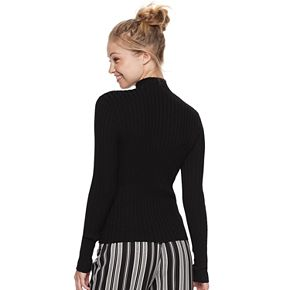 Juniors' It's Our Time Long Sleeve Mock Neck Rib Pullover