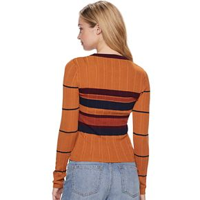 Juniors' It's Our Time Long Sleeve Rib Crewneck Striped Pullover