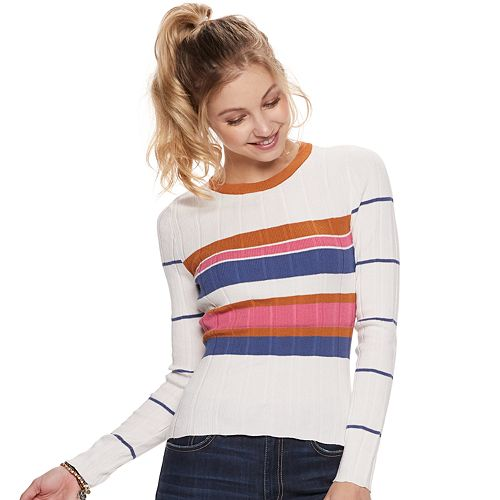 Juniors It's Our Time Rib Crew Neck Sweater