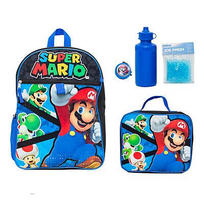 Kids Super Mario Mega 5-Piece Backpack Set