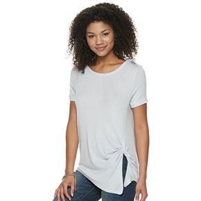 Juniors' SO Side Twist Snit Tee