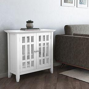 Simpli Home Bedford Rustic Low Storage Media Cabinet