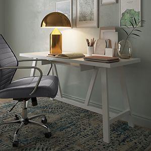 Simpli Home Dylan Modern Writing Office Desk in Black