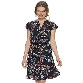 Women's ELLE? Flutter-Sleeve Dress