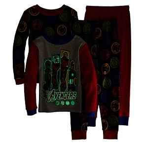Boys 4-10 Marvel Avengers Glow Heroes 4-Piece Pajama Set