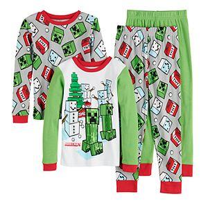 Boys 6-12 Minecraft Snow Men 4-Piece Pajama Set