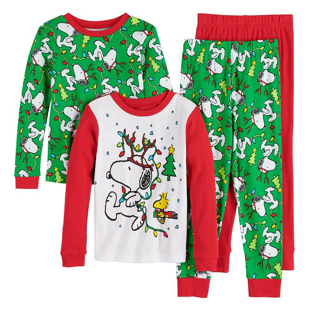 Boys 4-10 Peanuts Holiday Spirit 4-Piece Pajama Set