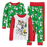 Boys 4-10 Peanuts Holiday Spirit 4-Piece Pajama Set