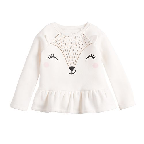 Baby Girl Jumping Beans® Animal Graphic Long Sleeve Top