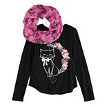 Girls' 7-16 Self Esteem Long Sleeve Top with Scarf and Necklace
