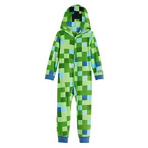 Boy's 6-12 Minecraft Creeper Fleece Union Suit