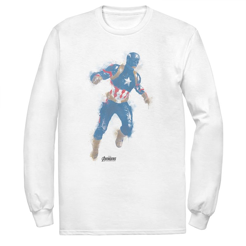 Shield yourself in style with this men\\\'s Captain America tee. Crewneck Long sleeves FABRIC & CARE Cotton Machine wash Imported Color: White. Gender: male. Age Group: adult.
