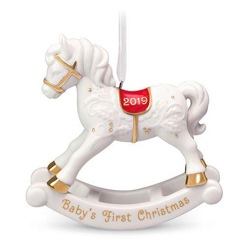 Baby's 1st Christmas Rocking Horse Porcelain 2019 Hallmark Keepsake Christmas Ornament by Hallmark