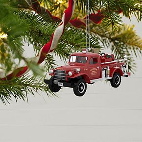 Fire Brigade 1958 Dodge Power Wagon Fire Engine 2019 Hallmark Keepsake Christmas Ornament with Light