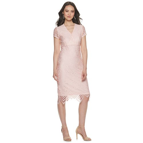 Women's Sharagano Lace Overlay Surplice Dress
