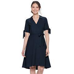 29f115d451504 Women's Sharagano Faux-Wrap Shirt Dress