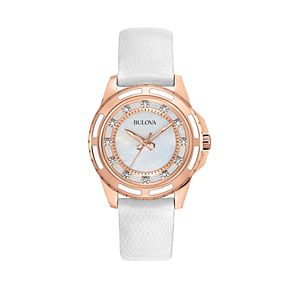 Bulova Stainless Steel Rose Gold Tone Diamond Accent & Mother-of-Pearl Leather Watch - 98P119 - Women
