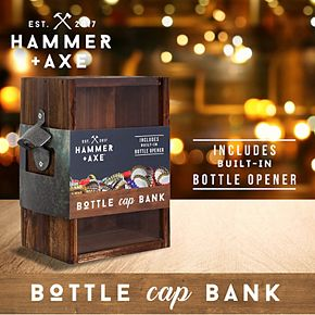 Hammer & Axe Bottle Cap Bank